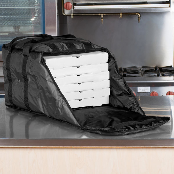 """ServIt Insulated Pizza Delivery Bag, Black Soft-Sided Heavy-Duty Nylon, 16"""" x 16"""" x 13"""" - Holds Up To (6) 12"""" or 14"""" Pizza Boxes"""