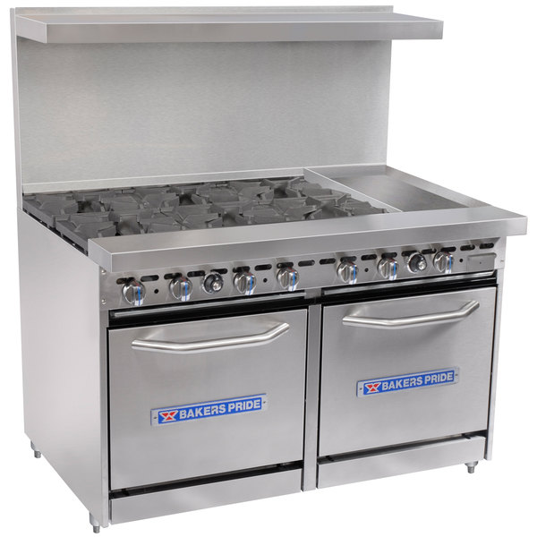 "Bakers Pride Restaurant Series 48-BP-6B-G12-S20 Natural Gas 6 Burner Range with Two Space Saver 20"" Ovens and 12"" Griddle"