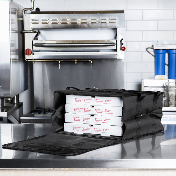 """Choice Soft-Sided Insulated Pizza Delivery Bag, Black Nylon, 16"""" x 16"""" x 8"""" - Holds Up To (4) 12"""" or 14"""" Pizza Boxes"""