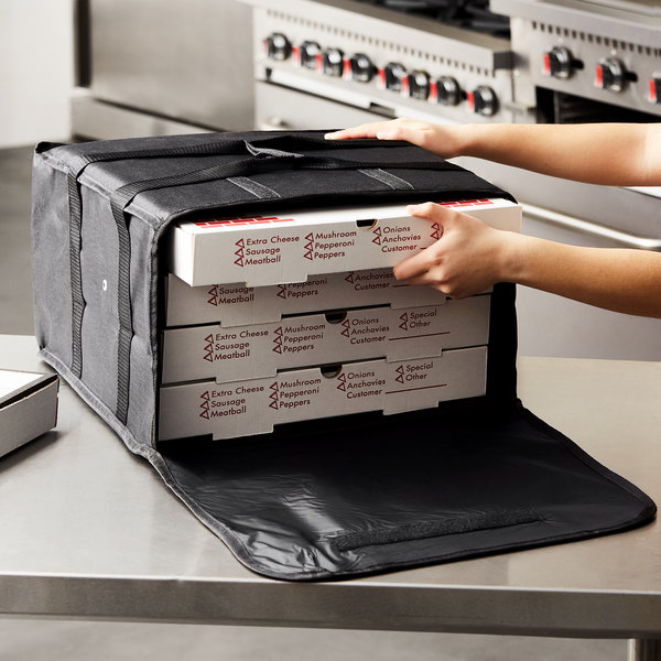 """Choice Insulated Pizza Delivery Bag, Black Nylon, 16"""" x 16"""" x 8"""" - Holds Up To (4) 12"""" or 14"""" Pizza Boxes Main Image 4"""