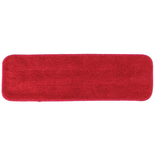 "18"" Red Microfiber Wet Velcro® Flat Mop Pad"