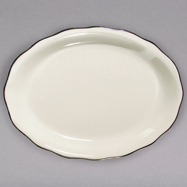 "12 5/8"" x 9 1/4"" Ivory (American White) Scalloped Edge China Platter with Black Band - 12/Case"