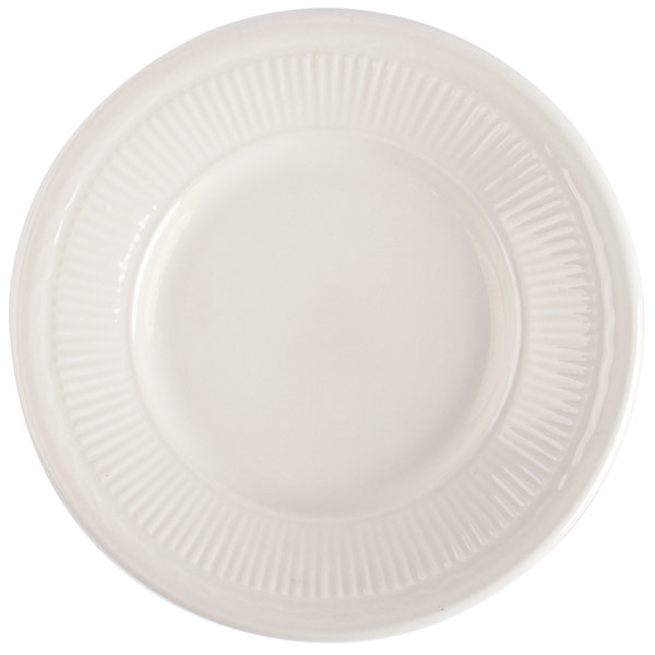 6 1/2 inch Ivory (American White) Embossed Rim China Plate - 36/Case