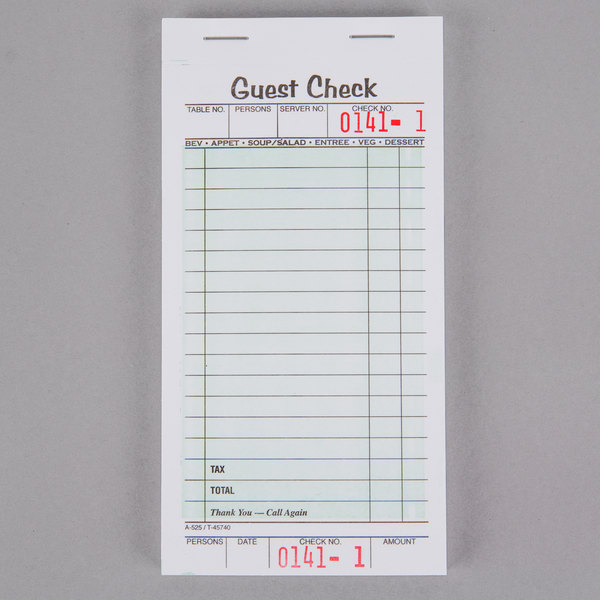 Adams 525sw 1 Part White Green Guest Check Book With Receipt Stub 10 Pack