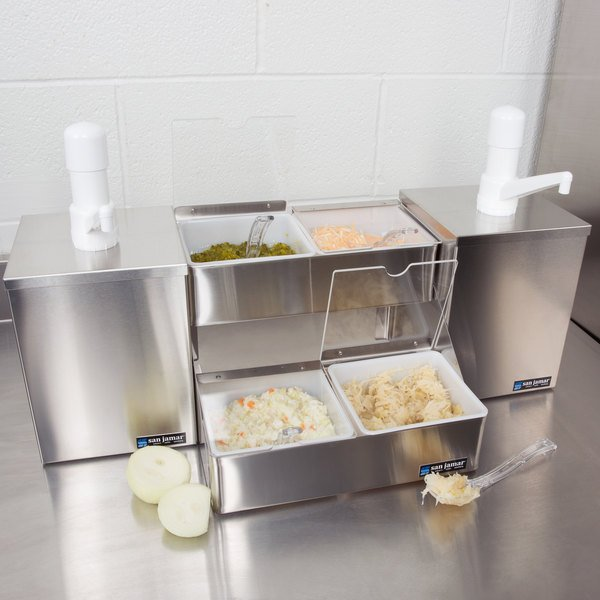 San Jamar P9825 Dual Pump Condiment System with 4-Compartment Two Tier Stainless Steel Condiment Holder
