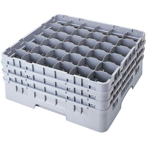 "Cambro 36S534151 Soft Gray Camrack Customizable 36 Compartment 6 1/8"" Glass Rack"