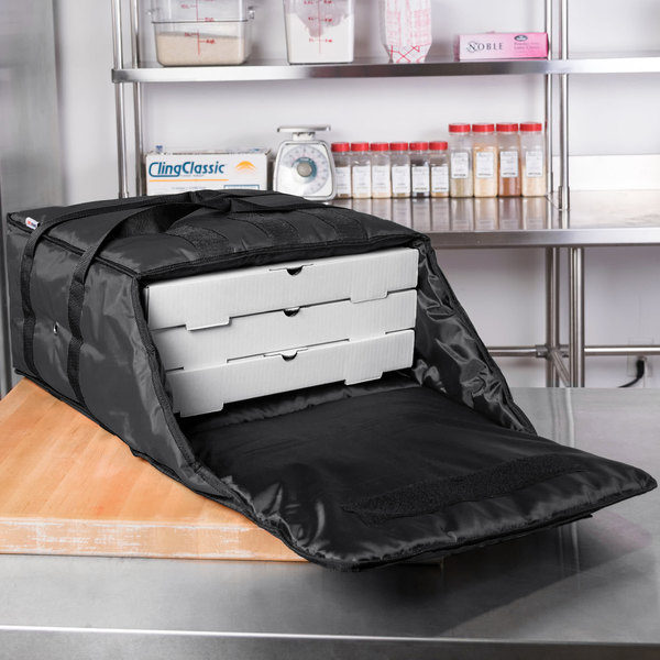 "ServIt Insulated Pizza Delivery Bag, Black Soft-Sided Heavy-Duty Nylon, 16"" x 16"" x 8"" - Holds Up To (3) 12"" or 14"" Pizza Boxes"
