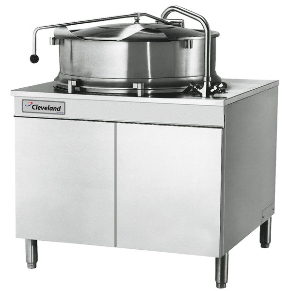 Cleveland KDM-40-T 40 Gallon 2/3 Steam Jacketed Direct Steam Tilting Kettle with Cabinet Base Main Image 1