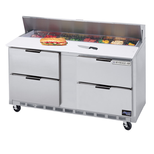 """Beverage Air SPED60-12C-4 60"""" 4 Drawer Cutting Top Refrigerated Sandwich Prep Table with 17"""" Wide Cutting Board"""