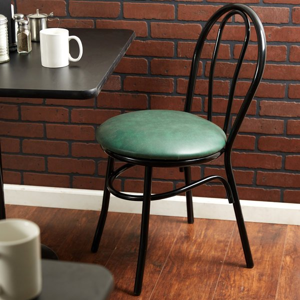 "Detached Seat Lancaster Table & Seating Green Hairpin Cafe Chair with 1 1/4"" Padded Seat"