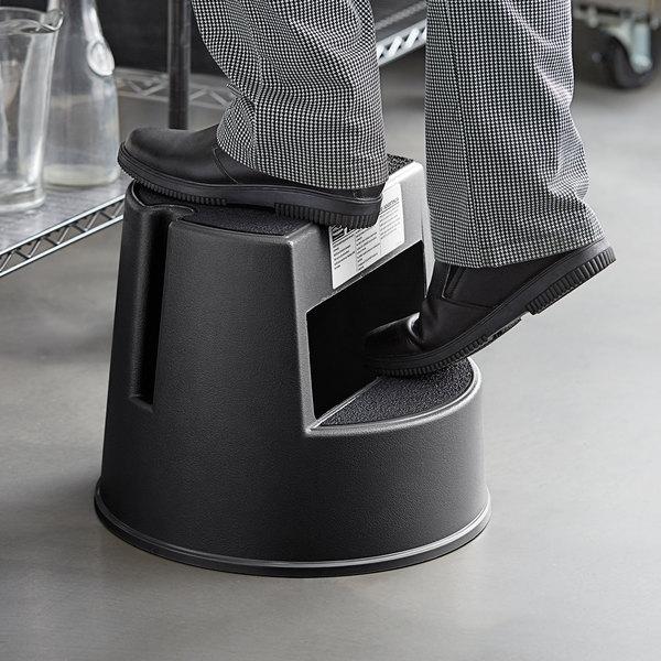 Rubbermaid FG252300BLA Black Mobile Two-Step Step Stool Main Image 4
