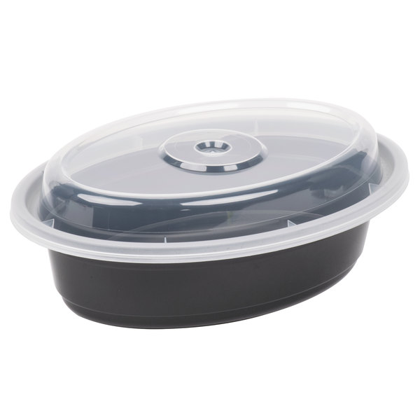 Newspring OC-08B 8 oz. Black 5 3/4 inch x 4 inch x 1 1/2 inch VERSAtainer Oval Microwavable Container With Lid - 150/Case