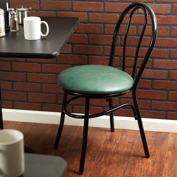 "Lancaster Table & Seating Green Hairpin Cafe Chair with 1 1/4"" Padded Seat Main Image 4"
