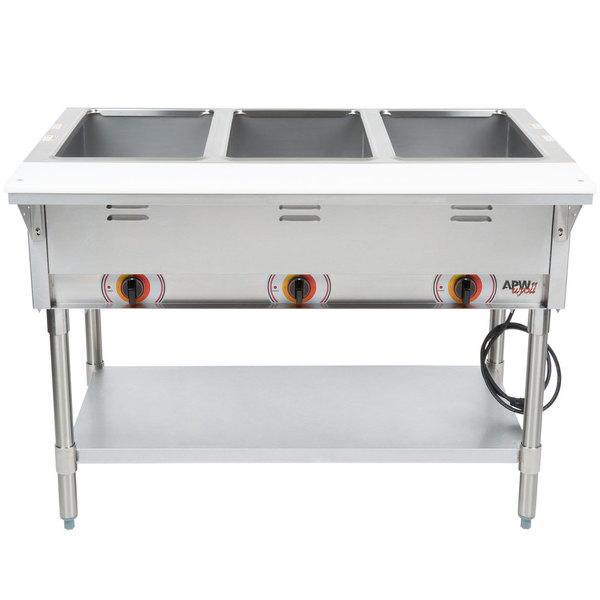 APW Wyott ST-3S Three Pan Exposed Stationary Steam Table with Stainless Steel Legs and Undershelf - 1500W - Open Well, 120V Main Image 1