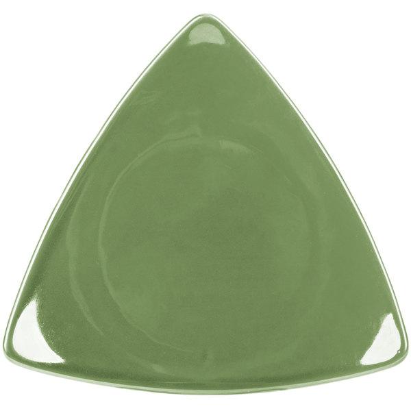 "CAC TRG-16GRE Festiware Triangle Flat Plate 10 1/2"" - Green - 12/Case"