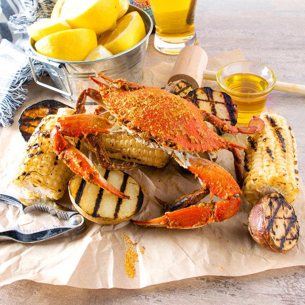 "Linton's Seafood 5 1/4"" Medium Seasoned Steamed Medium Maryland Blue Crabs - 84/Case"