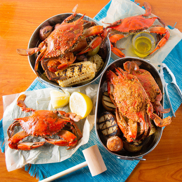 "Linton's Seafood 5 3/4"" Heavily Seasoned Steamed Large Maryland Blue Crabs - 12/Case"