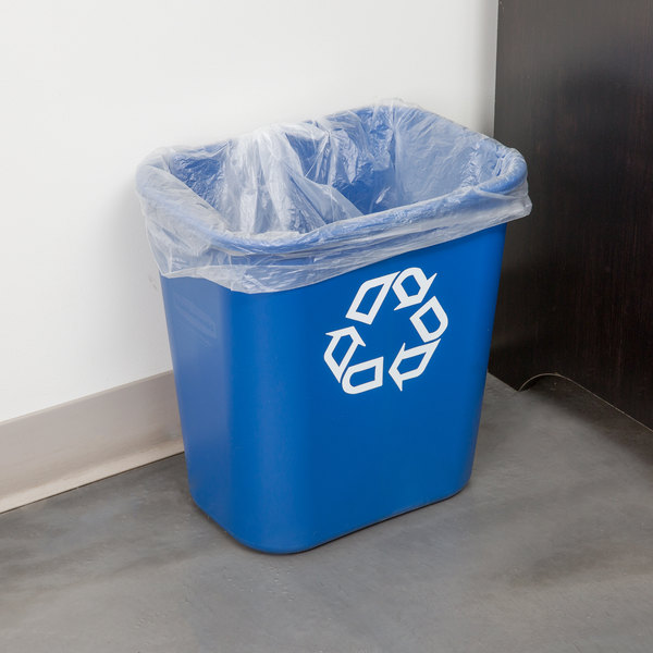 Rubbermaid FG295673BLUE 28 Qt. Blue Recycling Rectangular Wastebasket