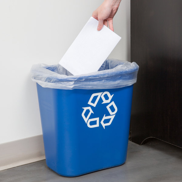 Rubbermaid FG295673BLUE 28 Qt. / 7 Gallon Blue Recycling Rectangular Wastebasket Main Image 2
