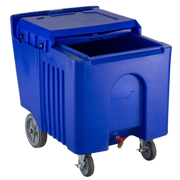 Choice 125 lb. Blue Mobile Ice Bin