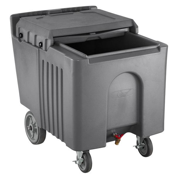 Choice 125 lb. Grey Mobile Ice Bin