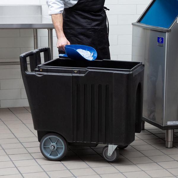Choice 125 lb. Black Mobile Ice Bin