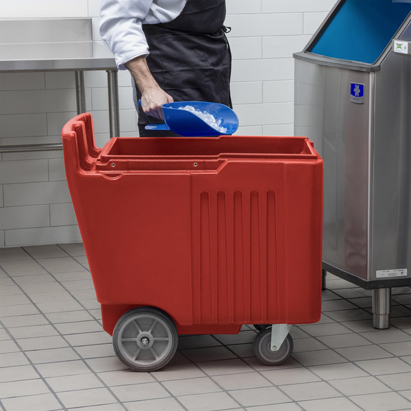 Choice 125 lb. Red Mobile Ice Bin