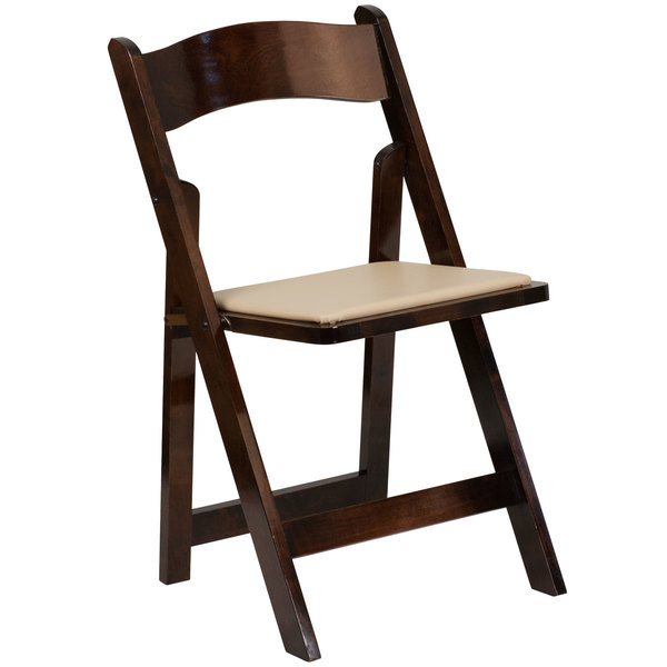 Flash Furniture XF-2903-FRUIT-WOOD-GG Hercules Fruitwood Folding Chair with Padded Seat Main Image 1