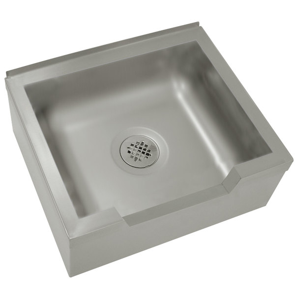 """Advance Tabco 9-OP-40-DF 25"""" x 21"""" x 16"""" Floor Mounted Mop Sink with Notched Front"""
