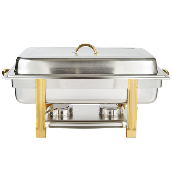 8 Qt. Full Size Stainless Steel Chafer with Gold Accents
