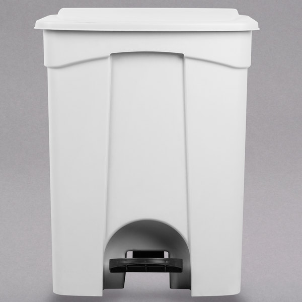 Lavex Janitorial 72 Qt. / 18 Gallon White Rectangular Step-On Trash Can
