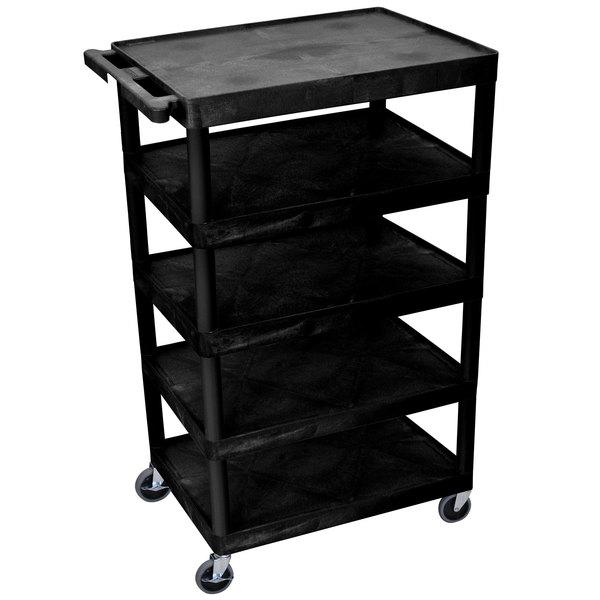 "Luxor BC55-B Black 5 Shelf Serving Cart - 24"" x 32"" x 49"" Main Image 1"