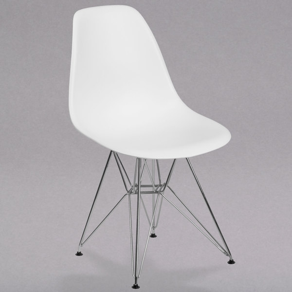 Flash Furniture FH-130-CPP1-WH-GG Elon Series White Plastic Accent Side Chair with Chrome Base Main Image 1