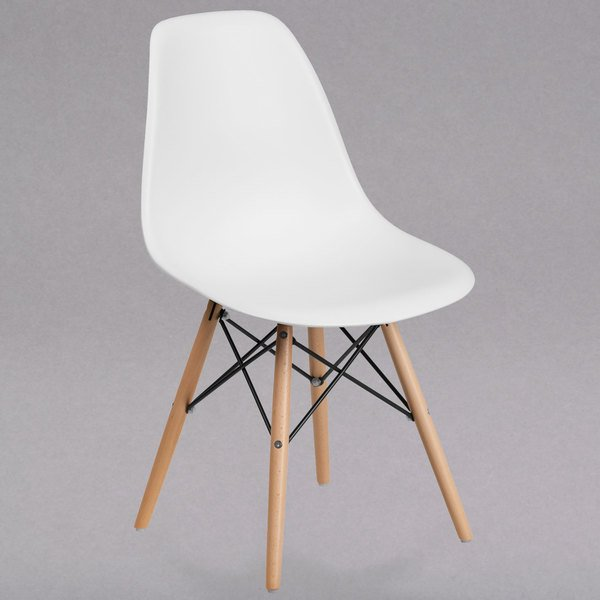 Flash Furniture FH-130-DPP-WH-GG Elon Series White Plastic Accent Side Chair with Wood Base Main Image 1