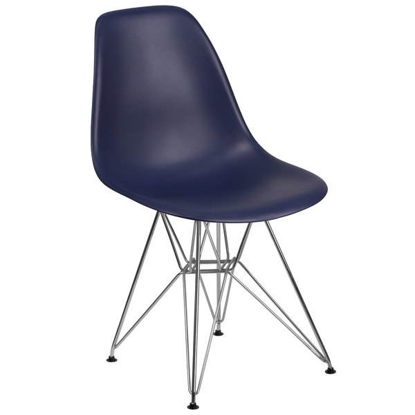 Flash Furniture FH-130-CPP1-NY-GG Elon Series Navy Plastic Accent Side Chair with Chrome Base Main Image 1