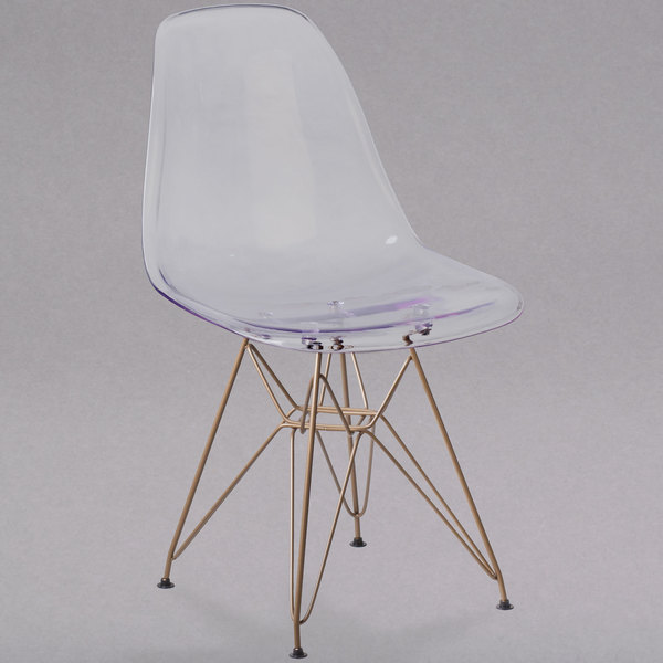 Flash Furniture FH-130-CPC1-GG Elon Series Ghost Plastic Accent Side Chair with Gold Metal Base Main Image 1