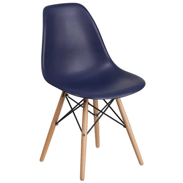 Flash Furniture FH-130-DPP-NY-GG Elon Series Navy Plastic Accent Side Chair with Wood Base Main Image 1
