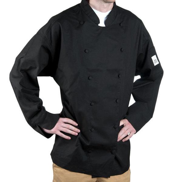 Chef Revival Cuisinier J017 Unisex Black Customizable Executive Long Sleeve Chef Coat - XS Main Image 1