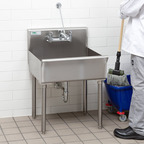 "Regency 18-Gauge 304 Stainless Steel Standing Mop Sink - 21"" x 24"" x 8"" Main Image 5"