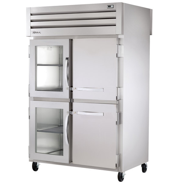 True STR2RPT-2HG/2HS-2G Specification Series Two Section Pass-Through Refrigerator with Two Front Glass Half Doors, Two Front Solid Half Doors, and Two Rear Glass Doors - 56 Cu. Ft.