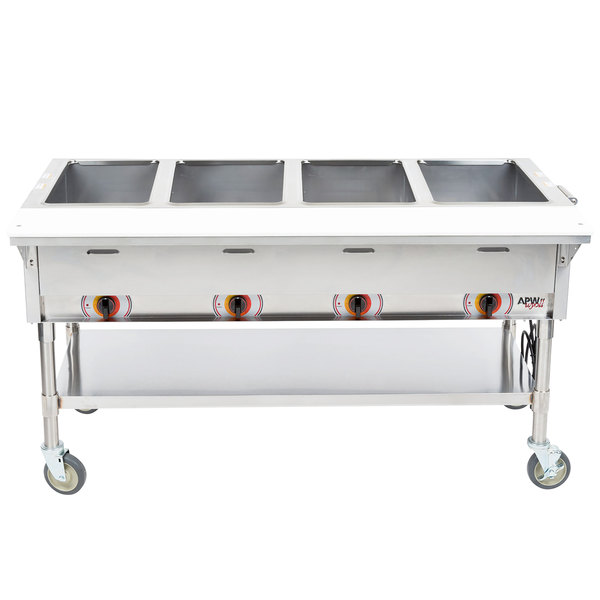 APW Wyott PST-4S Four Pan Exposed Portable Steam Table with Stainless Steel Legs and Undershelf - 2000W - Open Well, 208V Main Image 1