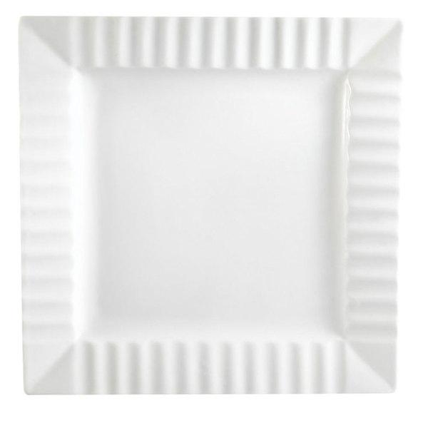 "CAC QE-8 Queensquare 8 1/4"" Bone White China Square Plate - 24/Case"