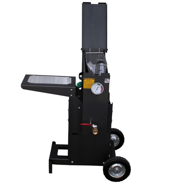 R & V Works FF1-R-ST 2.5 Gallon Liquid Propane Outdoor Cajun Deep Fryer with Stand - 90,000 BTU Main Image 1