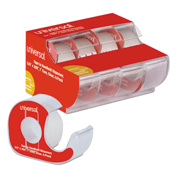 "Universal UNV83504 3/4"" x 300"" Clear Write-On Invisible Tape with Handheld Dispenser - 4/Pack"
