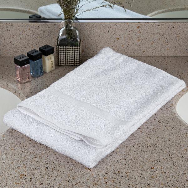 "Oxford Bronze 24"" x 48"" 100% Open End Cotton Bath Towel with Cam Border 8 lb. - 60/Case"