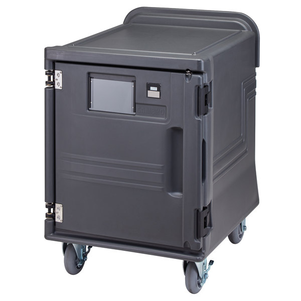 Cambro PCULC2615 Low Pro Cart Ultra™ Charcoal Gray Electric Single Compartment Cold Pan Carrier - 220V
