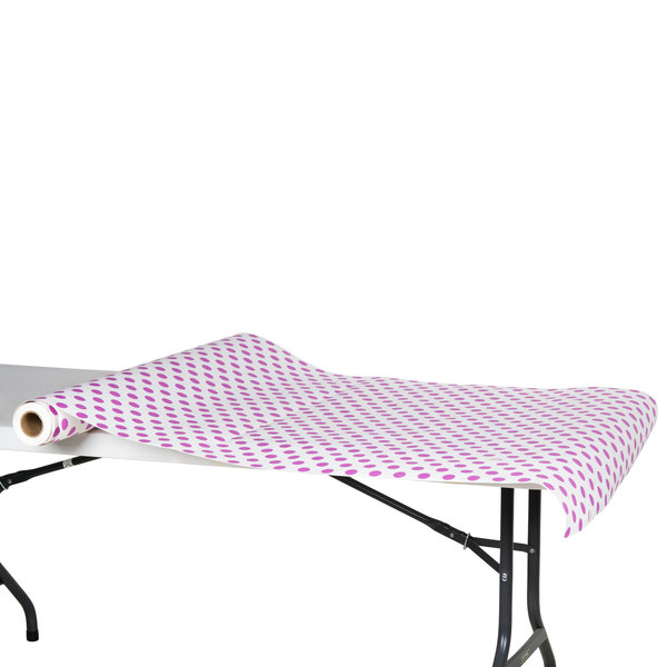 """40"""" x 100' Paper Table Cover with Purple Polka Dots"""