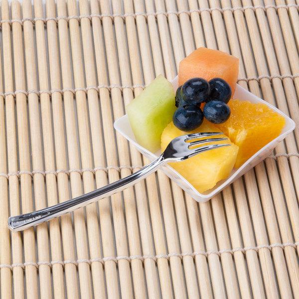 "Fineline Tiny Temptations 6500-SV 3 7/8"" Tiny Tines Silver Plastic Tasting Fork - 960/Case"