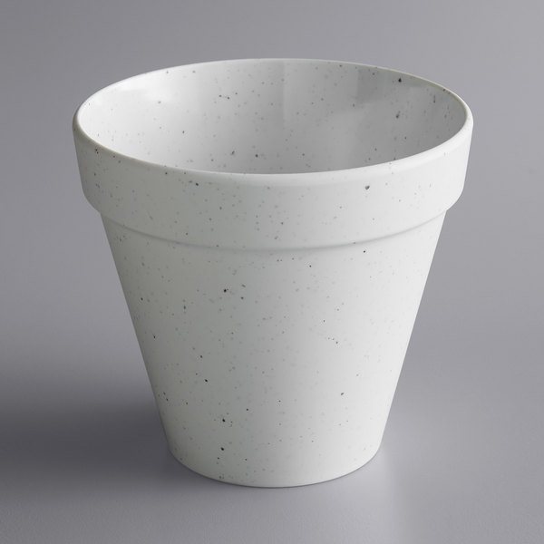 American Metalcraft MELPOTC24 24 oz. Terra Cotta Speckled White Melamine Pot