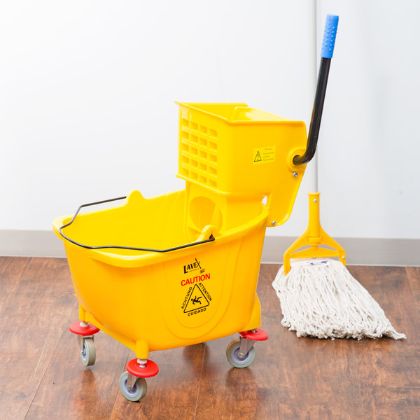 Lavex Janitorial 36 Qt. Yellow Mop Bucket & Wringer Combo